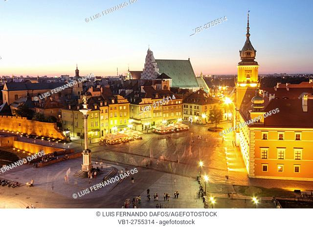 View of the Old Town and the Royal Castle Square at dusk from St. Anne's Church tower. Warsaw, Poland