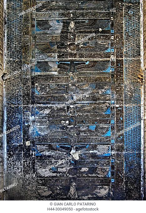 Egypt, Dendera, Ptolemaic temple of the goddess Hathor.View of ceiling and before cleaning