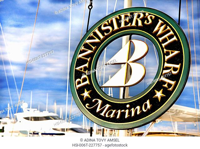 United States of America. New England. Rhode Island. Newport. Bannister's Wharf Marina sign