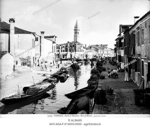 View of Rio di Mezzo on the Island of Burano in the lagoon of Venice, shot 1901 by Anderson