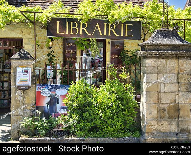 book shop, Domme, Dordogne Department, Nouvelle Aquitaine, France