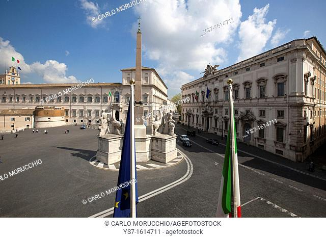 Quirinal Palace and square seen from former Quirinal Stables, now art museum, Rome, Lazio, Italy, Europe