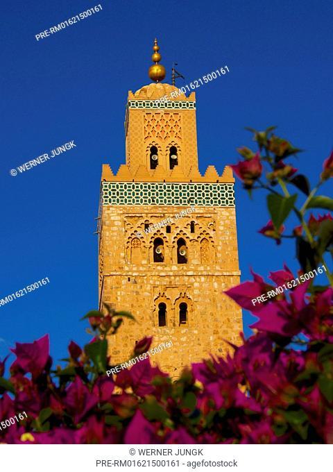 Minaret of Koutoubia mosque, Marrakech, Morocco, Africa / Minarett der Koutoubia-Moschee, Marrakech, Marokko, Afrika