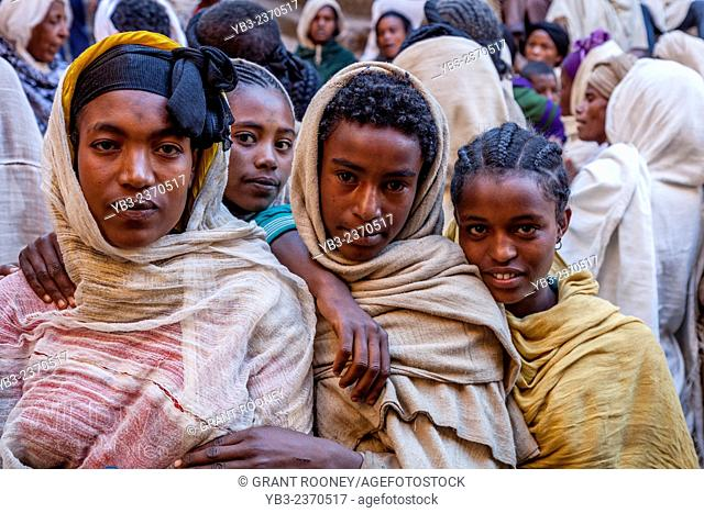 Christian Pilgrims, Biete Giyorgis (Church of Saint George), Lalibela, Ethiopia
