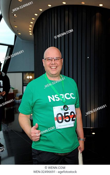 Coronation Street actor Chris Harper Takes on the Gherkin Challenge for the NSPCC. The Gherkin London, Sunday 22nd October Featuring: Contestant Where: London