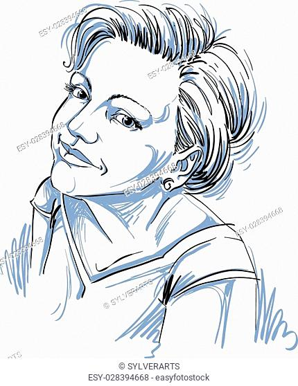 Vector art drawing, portrait of gorgeous happy girl isolated on white. Facial expressions, people positive emotions