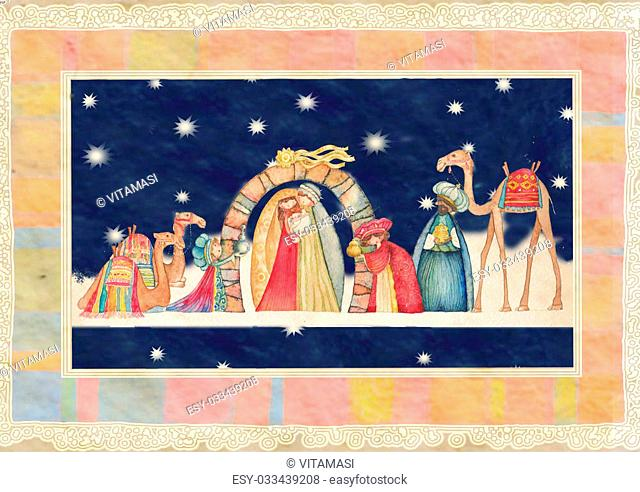 Illustration of Christian Christmas Nativity scene with the three wise men- watercolor