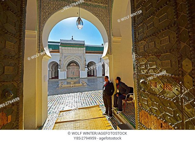 The Kairaouine, mixture of Mosque and islamic University, Fes El Bali, Fes, Middle Atlas, Morocco