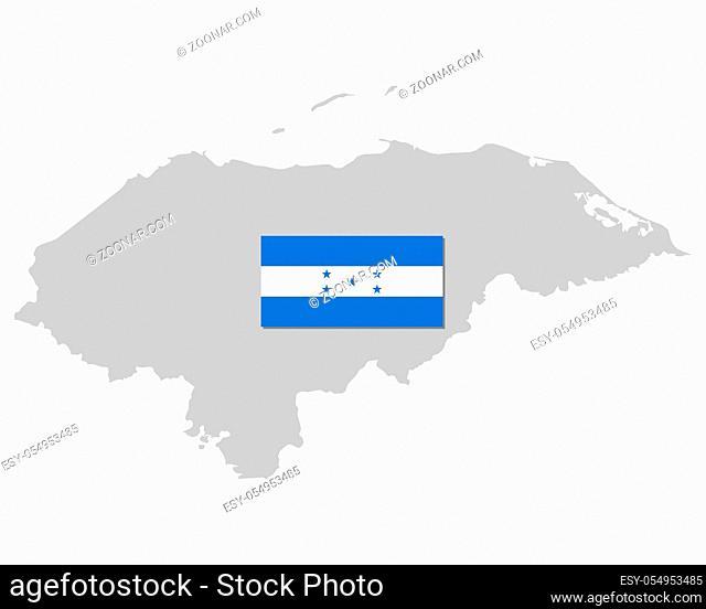 Fahne und Landkarte von Honduras - Flag and map of Honduras