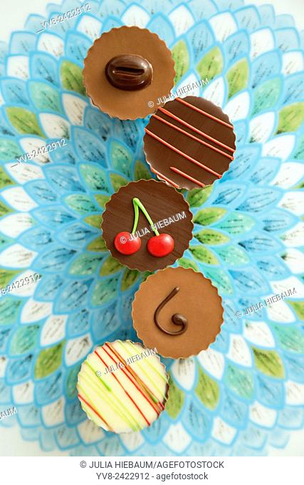 Colorful chocolate assortments