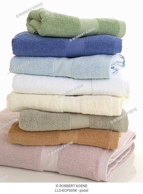 Pile of Colourful Bath Towels  Studio, Cape Town, Western Cape Province, South Africa