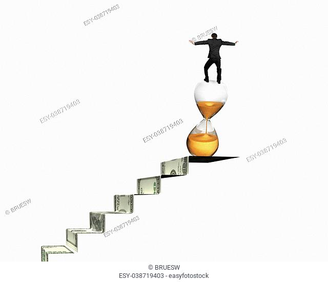 Businessman balancing hourglass on top of money stairs, isolated on white