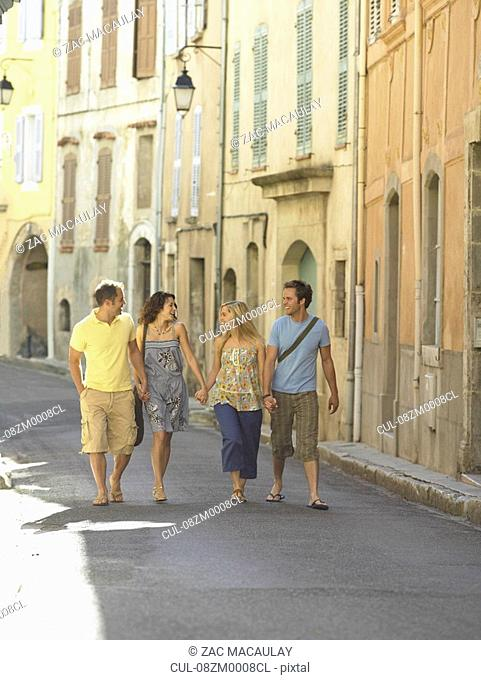 Group walking along street