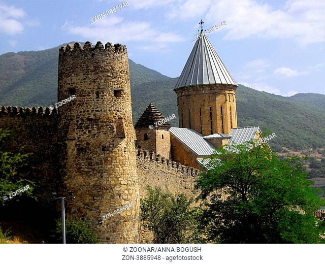 Ananuri Castle in georgian caucasus mountains