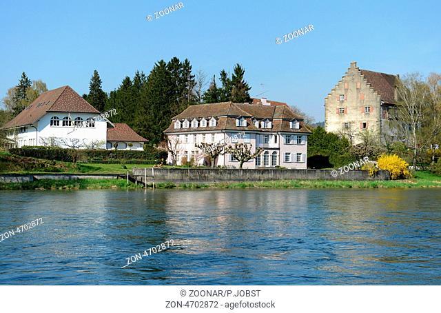 Blick auf Bibermühlen am Hochrhein / View of Bibermuehle at the High Rhine