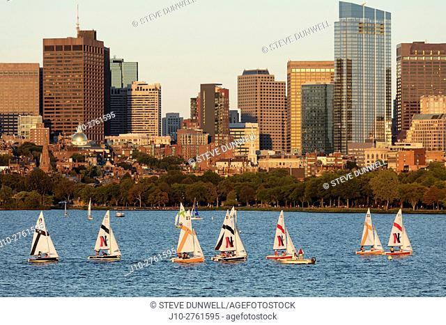 Sailboat race + Beacon Hill skyline from MIT Boston, Massachusets, USA