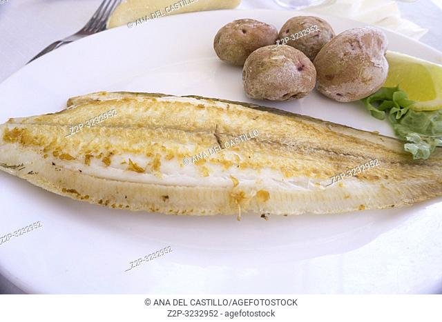 Fillet of sole fish with boiled potatoes Canary islands Spain