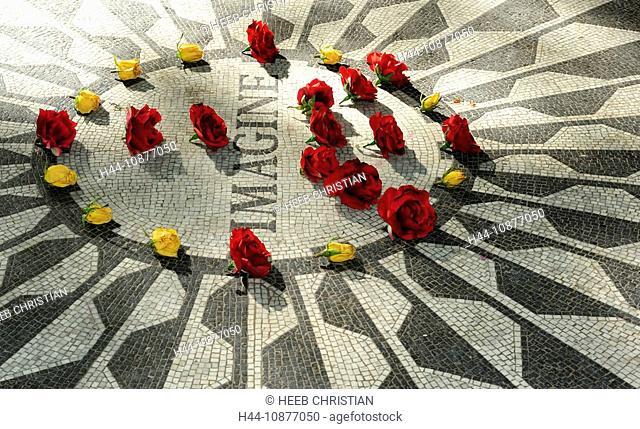 John Lennon Memorial at Strawberry Fields, Central Park, Upper West Side, Manhattan, New York, New York, USA