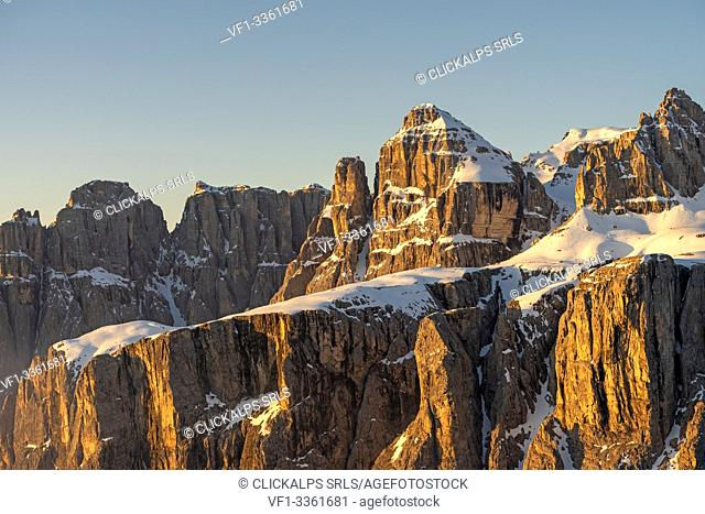 Gran Cir, Gardena Pass, Dolomites, Bolzano district, South Tyrol, Italy, Europe. Alpenglow in the rocks of Sella mountains