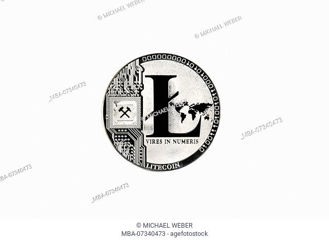 Symbolic image crypto currency digital currency, silver physical coin Litecoin