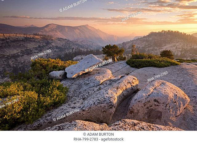 View towards Half Dome at sunset, from Olmsted Point, Yosemite National Park, UNESCO World Heritage Site, California, United States of America, North America