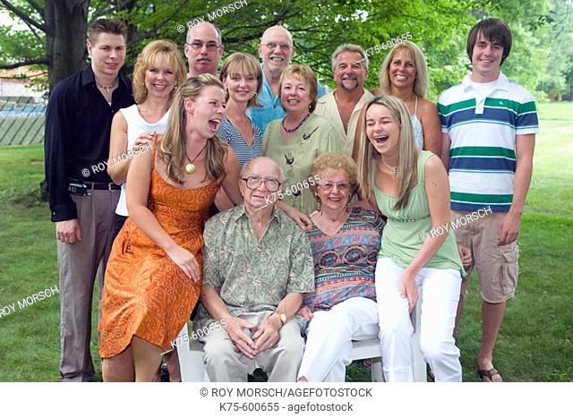 Portrait of three generations family