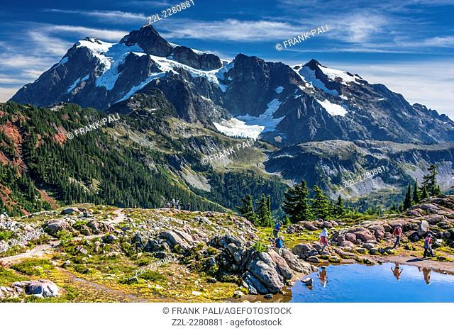 Mount Shuksan from Heather Meadows. Mt. Baker-Snoqualmie National Forest, afternoon light. Whatcom County. Washington. USA