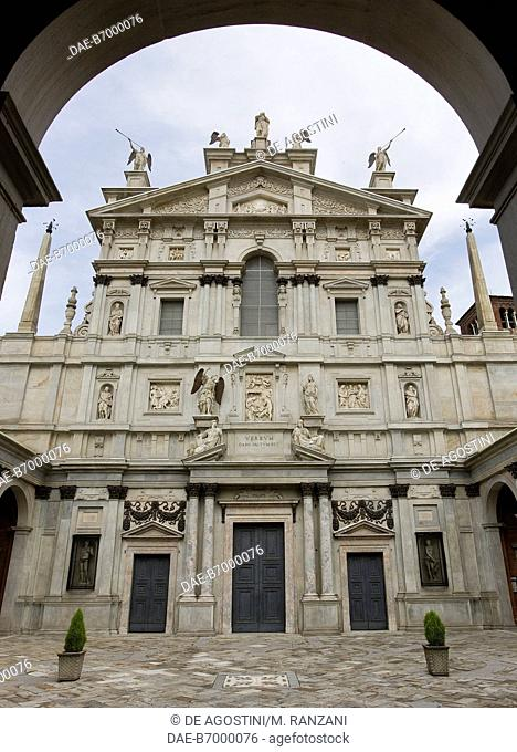 The Mannerist facade of the Church of Santa Maria dei Miracoli presso San Celso, designed by Galeazzo Alessi (1512-1572), realized by Martino Bassi (1542-1591)