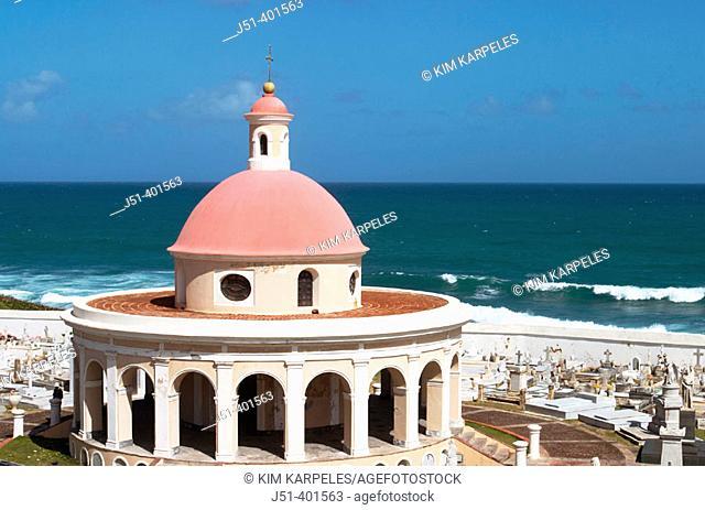 PUERTO RICO  San Juan. . San Juan cemetery in Old San Juan near El Morro fort, red-domed chapel from late 19th century