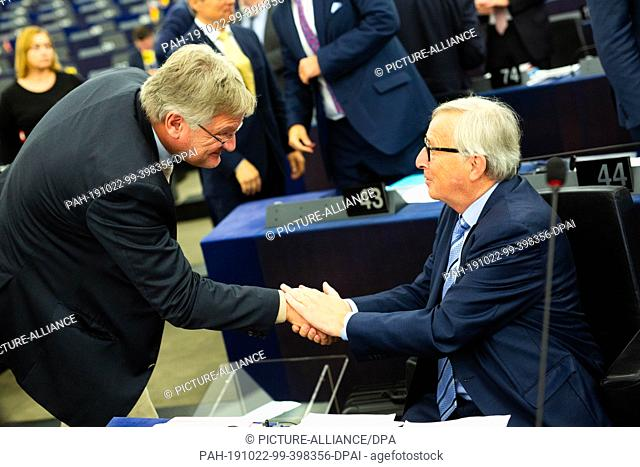 22 October 2019, France (France), Straßburg: Jörg Meuthen (AfD, ID Group) bids farewell in the European Parliament to the outgoing President of the European...