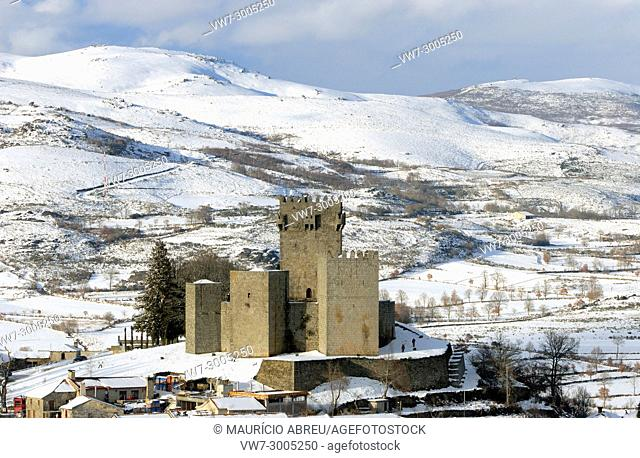The medieval castle of Montalegre in a snowy day. Trás-os-Montes, Portugal