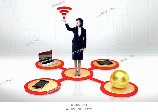 businesswoman with WI-FI sign