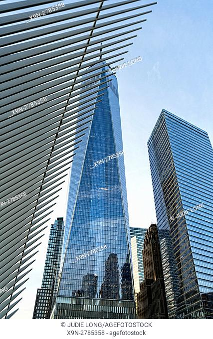 Looking Up at One World Trade Center (Freedom Tower) Office Building, Downtown Manhattan, New York City, Ribs of the Oculus World Trade Center Transportation...