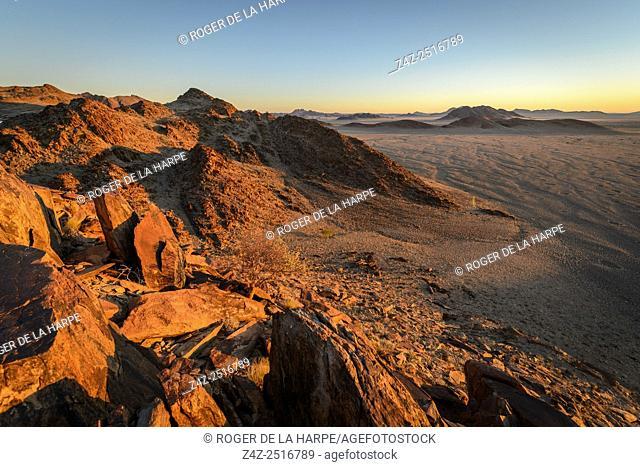 Desert scenery from Naukluft Mountains. Sossusvlei. Namib-Naukluft National Park. Near Sesriem. Namibia