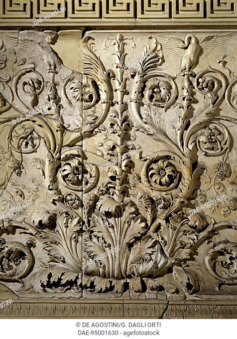 Detail of decorative floral friezes of the the Ara Pacis Augustae in Rome, built between 13 and 9 BC to honor the Augustan peace