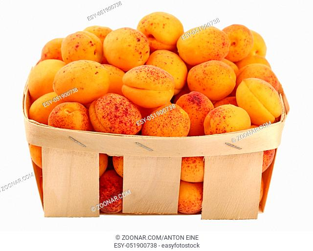 Fresh ripe mellow apricots in wooden wicker basket crate isolated on white background, close up