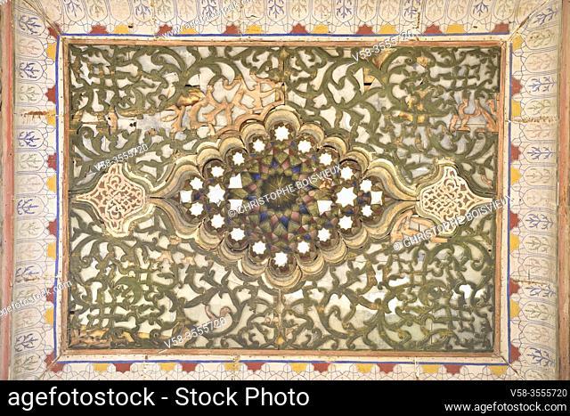 Uzbekistan, Unesco World Heritage Site, Bukhara, The Ark, Decorated ceiling