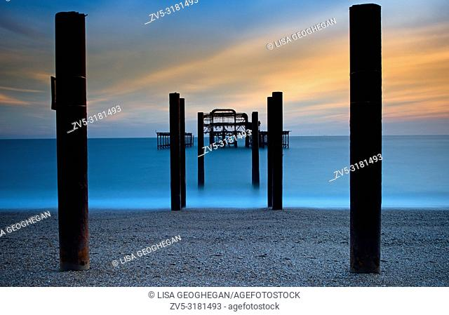 West Pier at sunset, Brighton, Hove, East Sussex, England, Uk, Gb