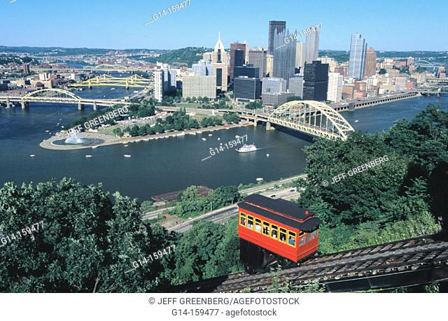 Duquesne Incline. Three Point Park view from Mount Washington. Pittsburgh. PA. USA