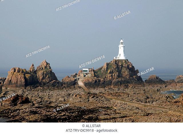 WHITE LA CORBIERE LIGHTHOUSE; CORBIERE, JERSEY, CHANNEL ISLANDS; 21/04/2009