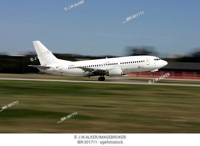 Jat Airways, Boeing 737 takes off, Frankfurt, Hesse, Germany