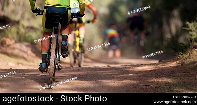 Group of athletes mountain biking on forest trail, mountain bike race
