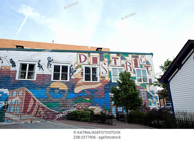 A wall mural in Carmel, Indiana, known for its art galleries and famous sculptures around town by J. Seward Johnson. Carmel is a tourist and art-lovers...