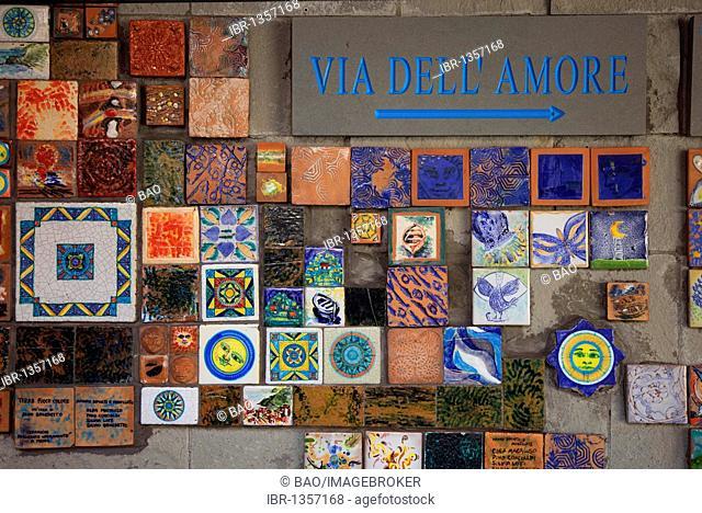Signpost to the Via dell 'Amore at the railway station of Riomaggiore, Cinque Terre region, Liguria, Italy, Europe