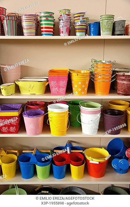 Assorted buckets for decoration. Garden center. Banyoles, Girona, Catalonia, Spain