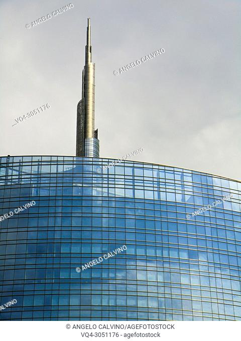 Detail of the Unicredit Tower, Piazza Gae Aulenti, Milano, Milan, Lombardy, Italy, Europe