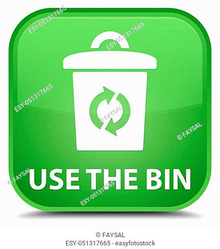 Use the bin isolated on special soft green square button abstract illustration