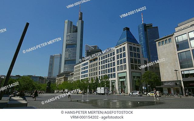 Goetheplatz with Goethe monument and Financial district, Frankfurt am Main, Hesse, Germany