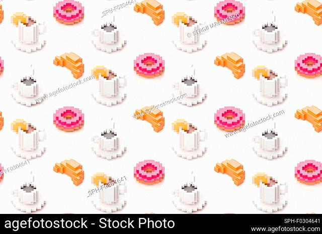 Cups of coffee, croissants and donuts, illustration