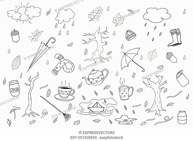 Autumn season collection in doodle style. Vector design elements